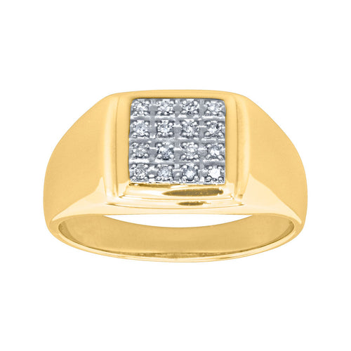 Bold Mens Diamond Ring in 10K Yellow Gold (0.12ct tw)