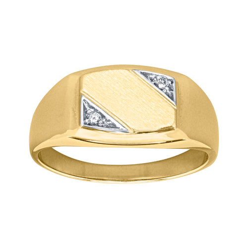Mens Diamond Signet Ring in 10K Yellow and White Gold (0.03ct tw)