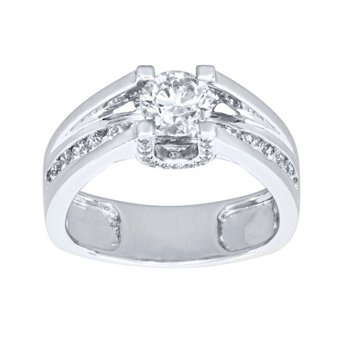 Elevated Round Diamond Engagement Ring in 18K White Gold (1.16ct tw)