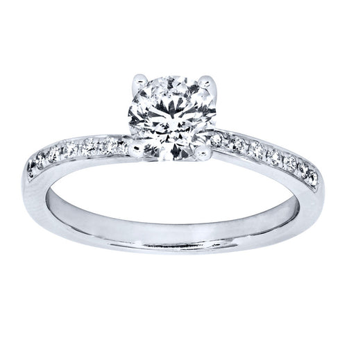 Diamond Accented Engagement Ring in 14K White Gold (0.80ct tw)
