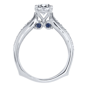 "Lumina ""Sirena"" (0.90ct) Ideal Cut Centre Diamond In 18K White Gold With Sapphire and Diamond Accents"