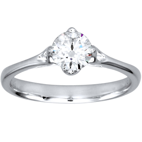 Lumina Ideal Cut Diamond Magnolia Solitaire Diamond Engagement Ring in 18K White Gold (0.50ct tw)