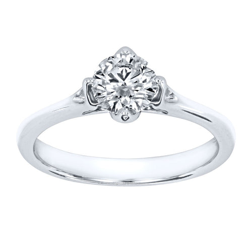 Lumina Ideal Cut Diamond Magnolia Solitaire Engagement Ring in 18K White Gold (0.70ct tw)