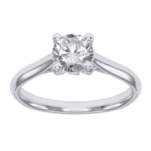 "Lumina ""Florence"" (0.70 ct) Ideal Cut Solitaire Diamond Engagement Ring in 18K White Gold"