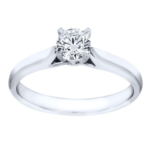 Lumina Ideal Cut Diamond Classic Solitaire Engagement Ring in 19K White Gold (0.40ct tw)