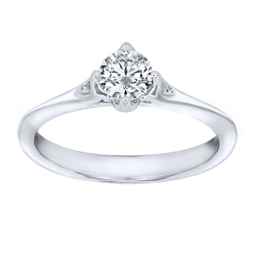Lumina Ideal Cut Diamond Magnolia Solitaire Engagement Ring in 18K White Gold (0.40ct tw)
