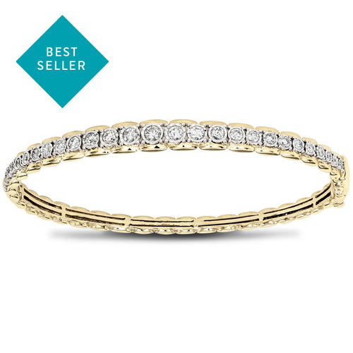 One Carat Bangle Diamond Bracelet In 10K Yellow And White Gold