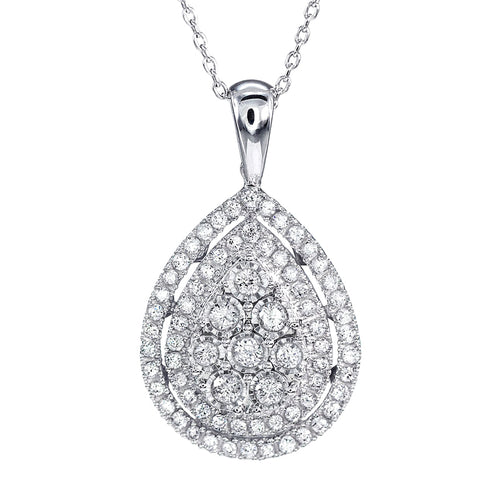 - Elise - Pear Shaped Diamond Cluster Pendant In 10K White Gold (0.50 ct tw)
