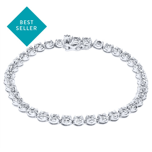 Round Diamond Tennis Bracelet in 10K White Gold