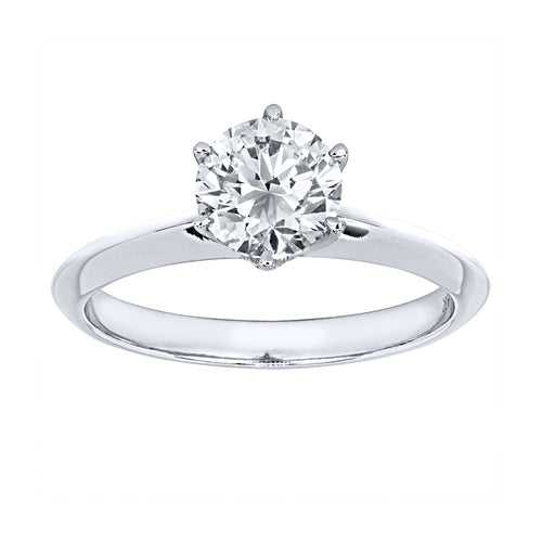 Six Prong Solitaire Diamond Engagement Ring in 19K White Gold (1.00ct tw)