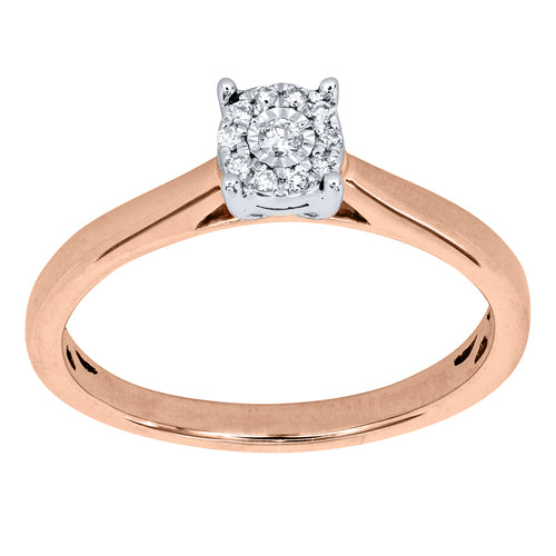 Two Tone Rose and White Gold Diamond Cluster Promise Ring with Illusion Setting (0.05ct tw)