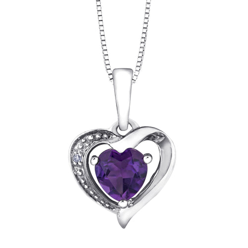 Heart Shaped Amethyst and Diamond Pendant Crafted In 10K White Gold