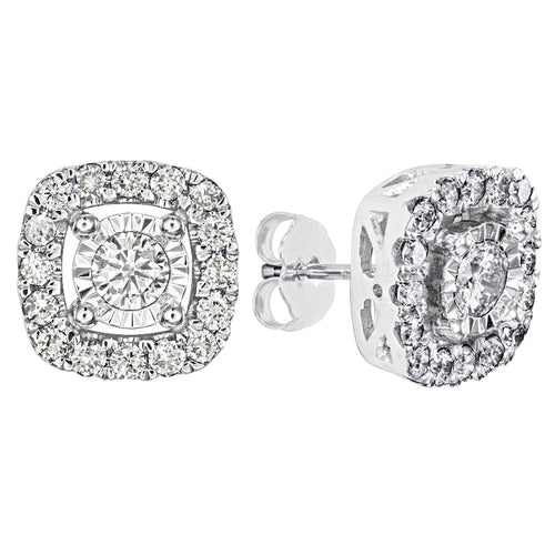 Halo Diamond Stud Earrings in 10K White Gold (1.00ct tw)