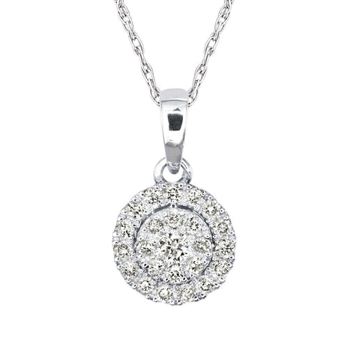 Diamond Cluster Necklace in 10K White Gold with Chain (0.17ct tw)