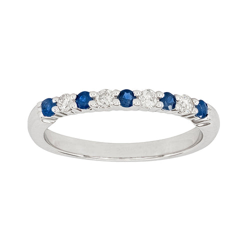 Sapphire and Diamond Wedding Band in 10K White Gold (0.12ct tw)