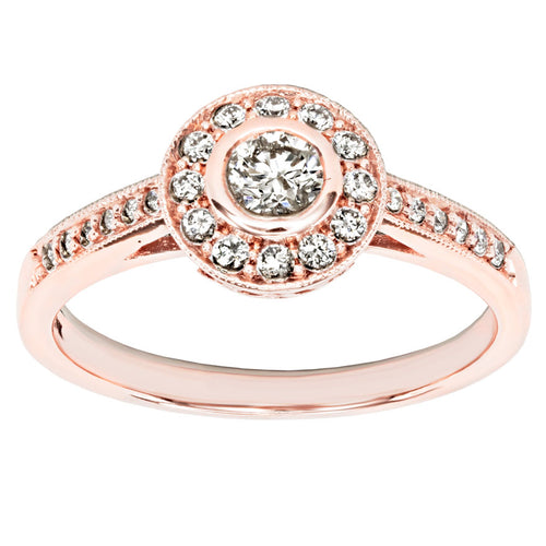 Bezel Set Diamond Engagement Halo Ring in 14K Rose Gold (0.46ct tw)