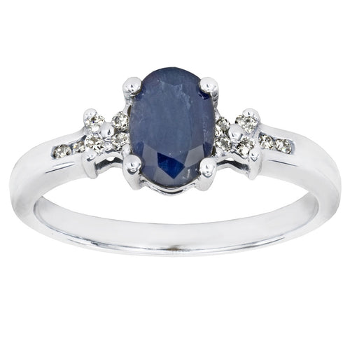 Oval Blue Sapphire and Diamond Ring in 10K White Gold (0.08ct tw)