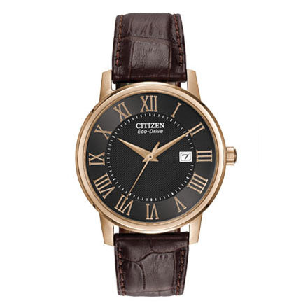 Citizen Men's Corso Eco-Drive Brown Leather Watch