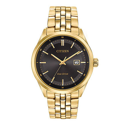 Citizen Men's Corso Eco-Drive Gold-Tone Black Dial Watch
