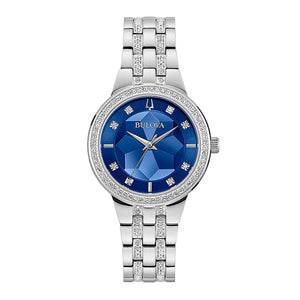 Bulova Women's Crystal Watch In Blue Dial | 96L276