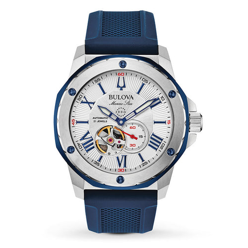 Bulova Men's Automatic Marine Star Watch With Blue Silicone Strap | 98A225