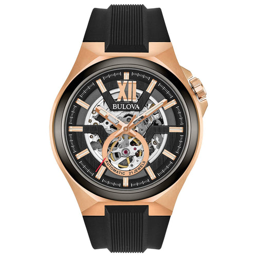 Bulova Men's Automatic Watch With Rose Gold Tone Stainless Steel Case | 98A177