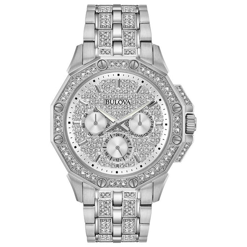 Bulova Men's Crystal Watch With Pave Set Dial | 96C134