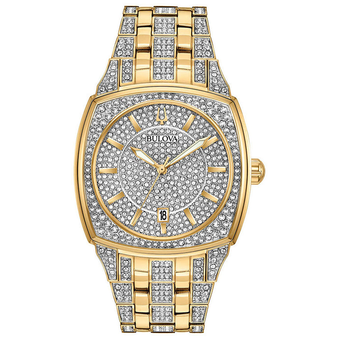 Bulova Men's Gold Crystal Pave Watch