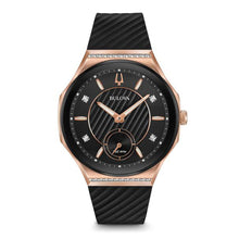Load image into Gallery viewer, Bulova Ladies' Curv Rose Gold-Tone Black Rubber Strap Watch | 98R239
