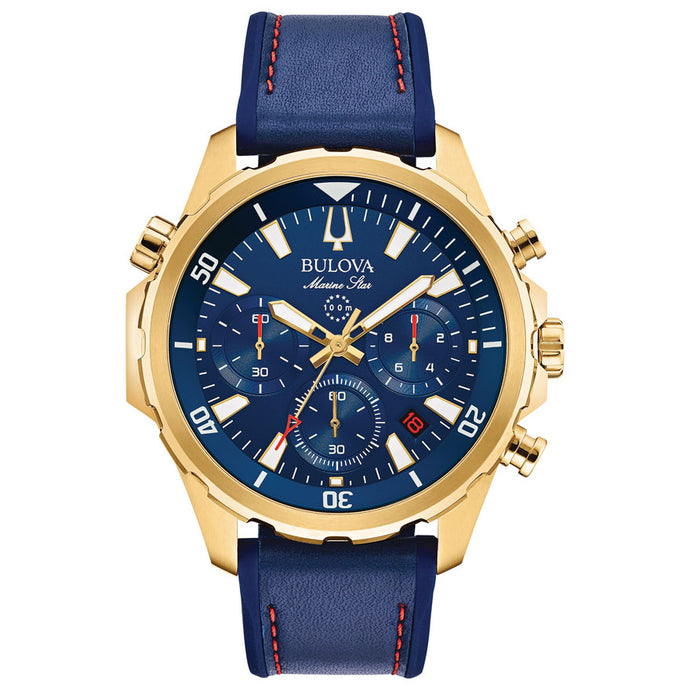 Bulova Men's Marine Star Chronograph Blue Dial Blue Strap Watch | 97B168