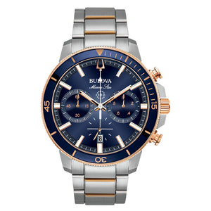 Bulova Men's Marine Star Chronograph Blue Dial Stainless Steel Watch | 98B301