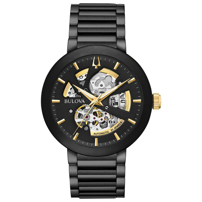 Bulova Men's Modern Automatic Black Dial Black Bracelet Watch | 98A203