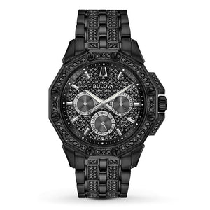 Bulova Men's Crystal Watch In Black Tone Stainless Steel | 98C134