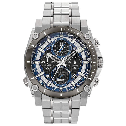 Bulova Men's Precisionist Chronograph Watch In Stainless Steel | 98B316