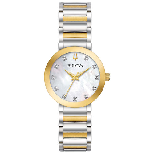 Bulova Women's Modern Diamond Mother of Pearl Dial Two Tone Watch | 98P180