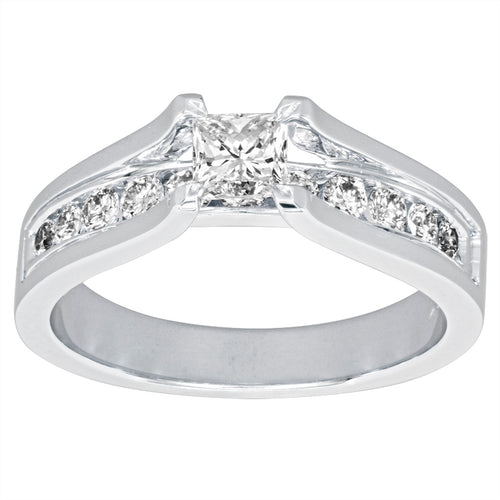 Princess Cut Diamond Engagement Ring in 14K White Gold (0.75ct tw)