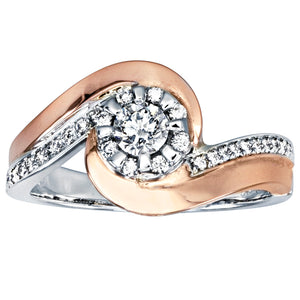 Canadian Swirl Diamond Engagement Ring in 14K White and Rose Gold (0.40ct tw)