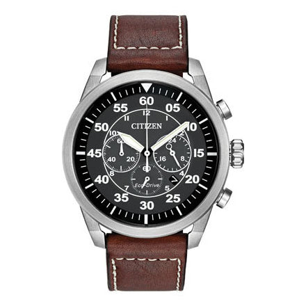 Citizen Men's Avion Eco-Drive Brown Leather Strap Watch