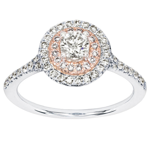 Canadian Diamond Engagement Ring with Pink and White Gold Diamond Halos (0.72ct tw)
