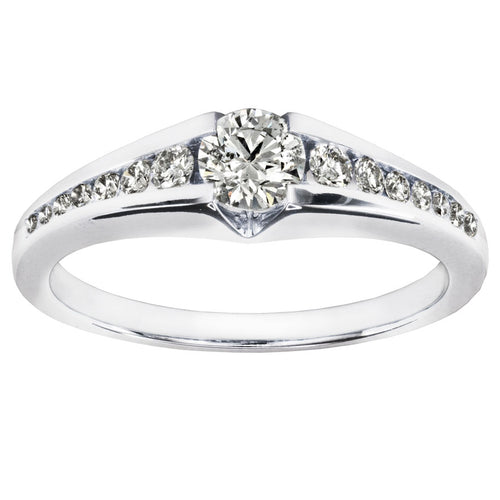 Channel Set Round Engagement Ring in 14K White Gold (0.50ct tw)
