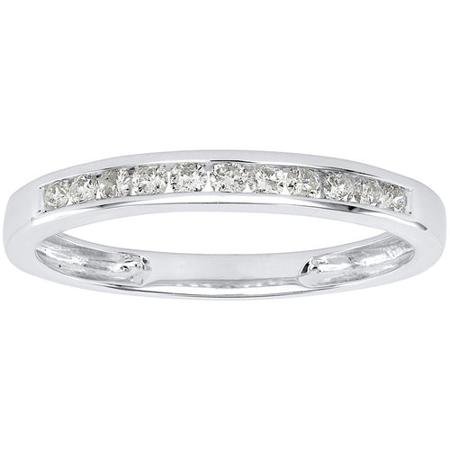 Channel Set Wedding Band in 10K White Gold (0.20ct tw)