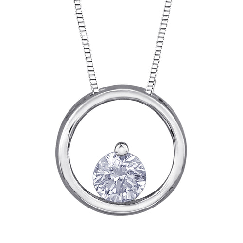 10K White Gold Solitaire Diamond Pendant (0.075 ct tw)
