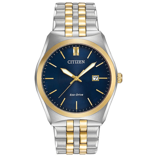 Citizen Men`s Corso Two Tone Stainless Steel Watch In Blue Dial