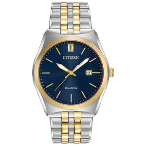 Citizen Men`s Corso Two Tone Stainless Steel Watch In Blue Dial | BM7334-58L