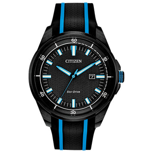 Men's Citizen Drive Eco-Drive Watch With Black and Blue Silicon Strap