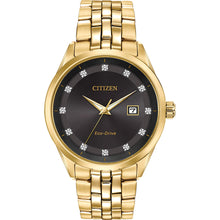 Load image into Gallery viewer, Citizen Men's Corso Eco-Drive Black Dial Gold Tone Watch | BM7252-51G