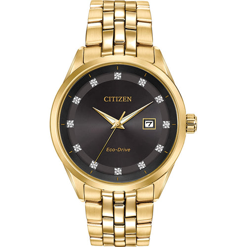 Citizen Men's Corso Eco-Drive Black Dial Gold Tone Watch