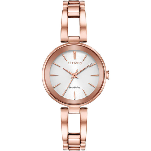 Citizen Women's Axiom Eco-Drive Silver Dial Pink Gold Tone Watch