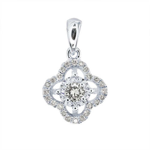 Diamond Clover Halo Cluster Pendant in 14K White Gold (0.18ct tw)