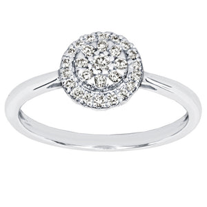 Cluster Centre Ring in 14K White Gold (0.22ct tw)